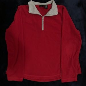 Red Sweater with grey neckline !